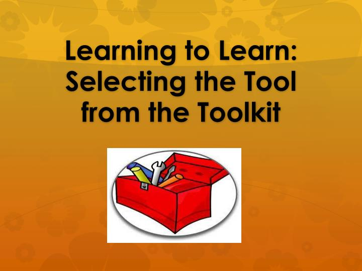 Learning to learn selecting the tool from the toolkit