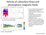 helicity of subsurface flows and photospheric magnetic fields