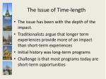 the issue of time length