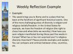 weekly reflection example
