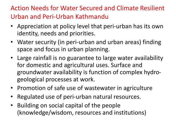 Action Needs for Water Secured and Climate Resilient Urban and