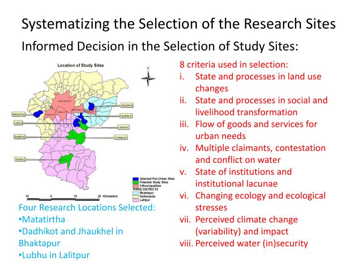 Systematizing the Selection of the Research Sites