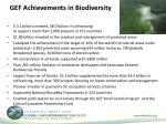 gef achievements in biodiversity