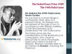 the nobel peace prize 1989 the 14th dalai lama