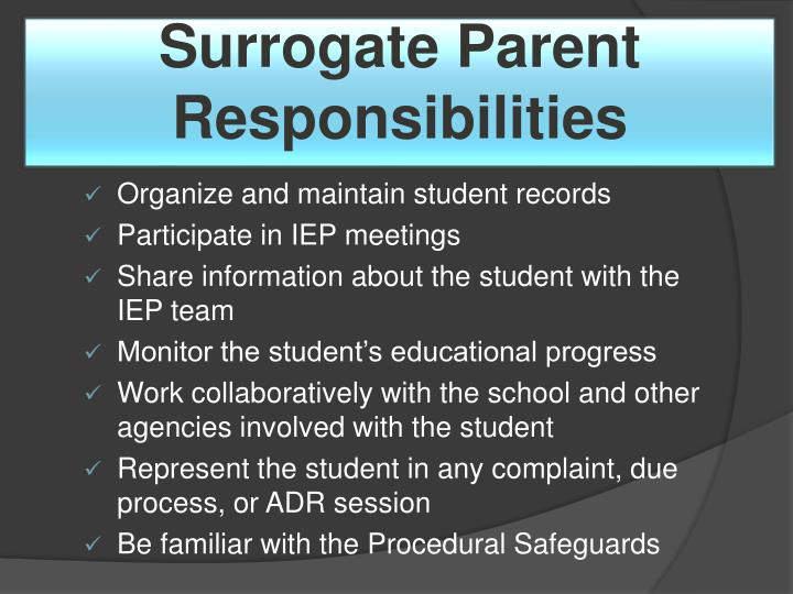 Surrogate Parent Responsibilities