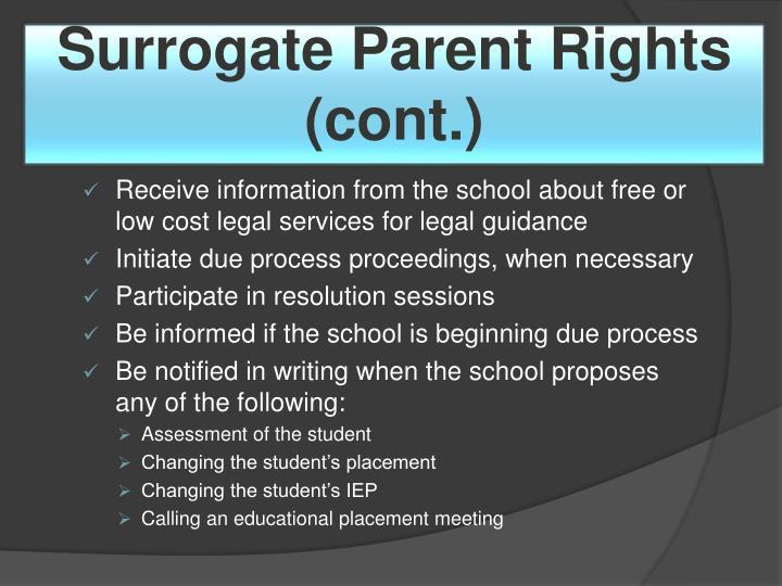 Surrogate Parent Rights (cont.)