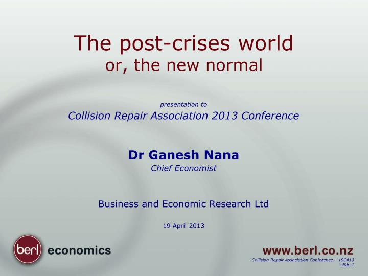 the post crises world or the new normal n.