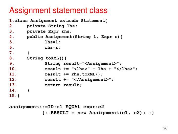 Assignment statement class