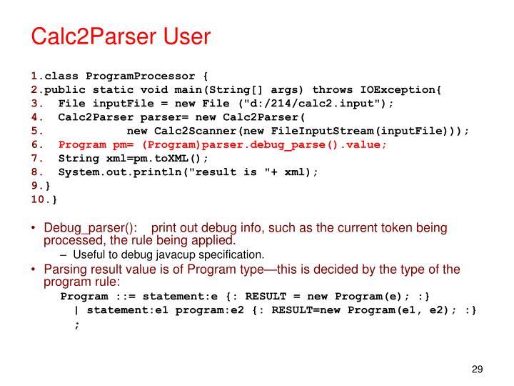 Calc2Parser User
