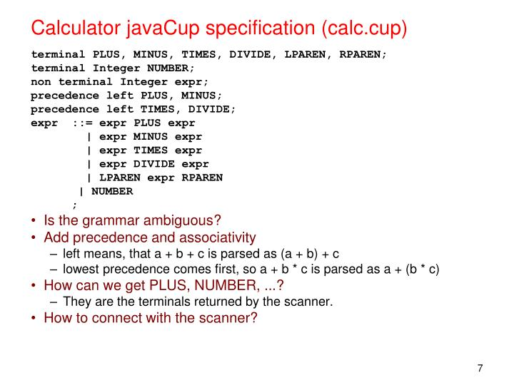 Calculator javaCup specification (calc.cup)
