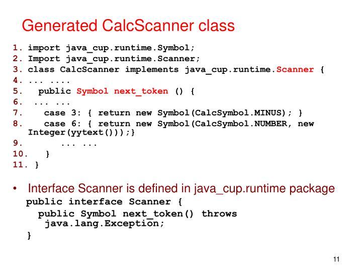 Generated CalcScanner class