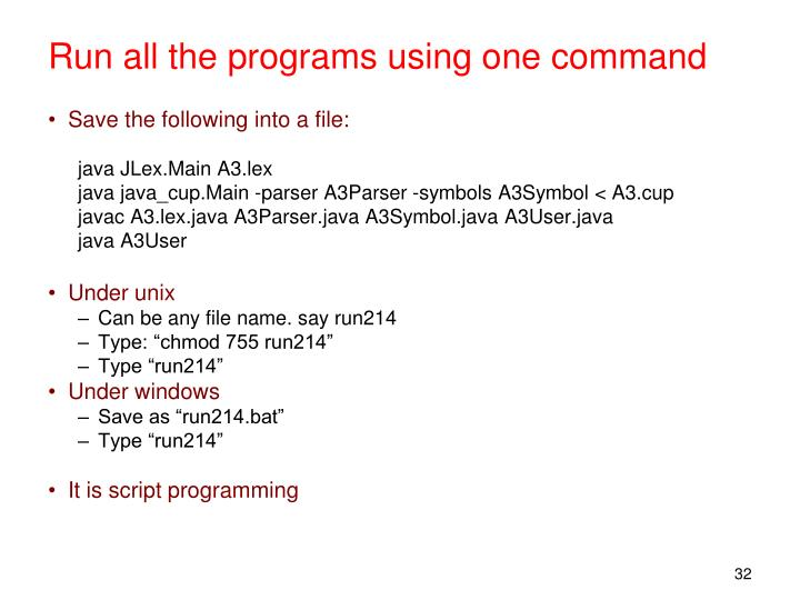 Run all the programs using one command