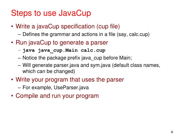 Steps to use JavaCup