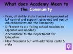 what does academy mean to the community