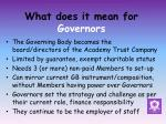 what does it mean for governors