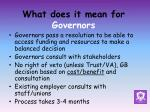 what does it mean for governors1