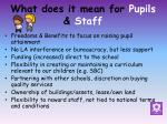what does it mean for pupils staff