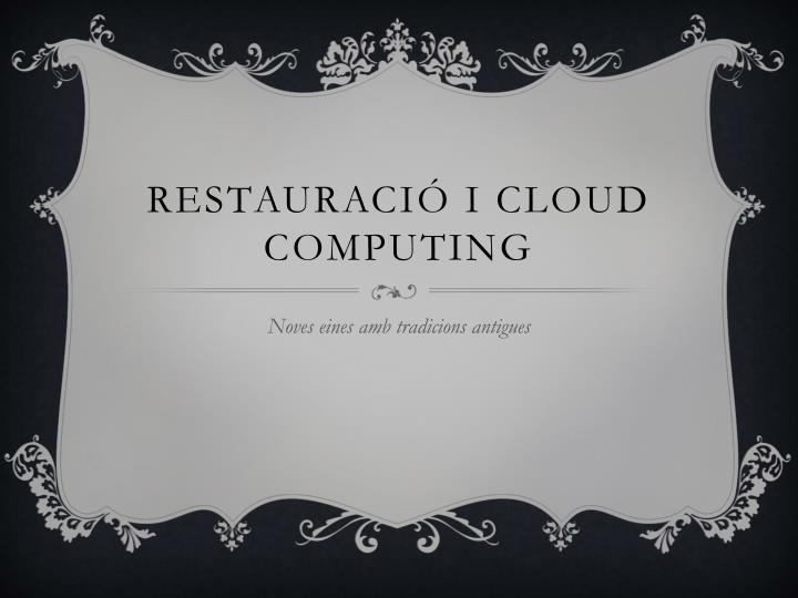 restauraci i cloud computing n.