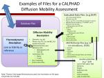 examples of files for a calphad diffusion mobility assessment