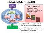 materials data for the mgi