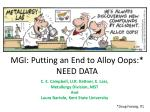 mgi putting an end to alloy oops need data