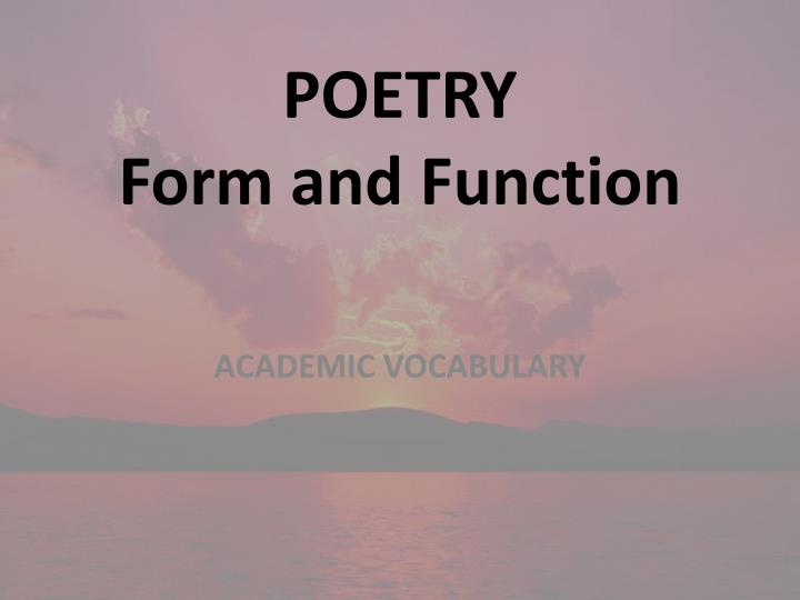 poetry form and function n.