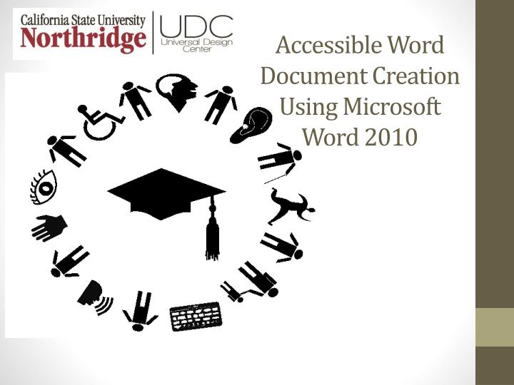 accessible word document creation using microsoft word 2010 n.