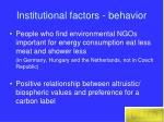 institutional factors behavior