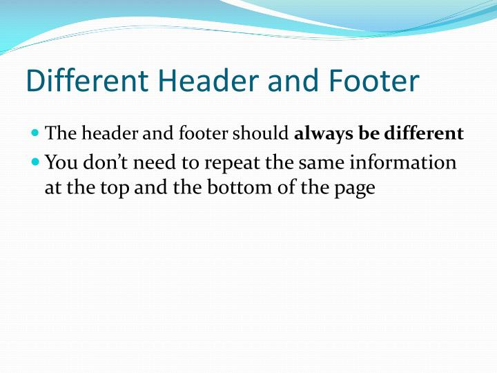 Different Header and Footer