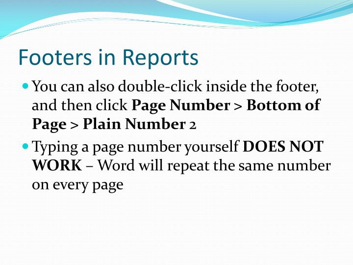 Footers in Reports