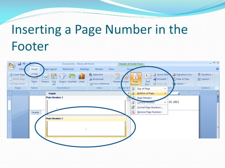Inserting a Page Number in the Footer