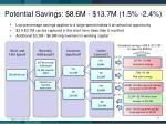 potential savings 8 6m 13 7m 1 5 2 4