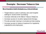 example decrease tobacco use1