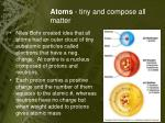 atoms tiny and compose all matter