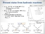 present status from hadronic reactions