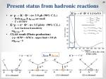 present status from hadronic reactions1