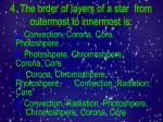 4 the order of layers of a star from outermost to innermost is