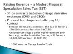 raising revenue a modest proposal speculation sales tax sst