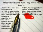 relationships and how they affect his poetry