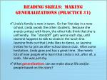 reading skills making generalizations practice 1