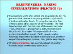 reading skills making generalizations practice 2