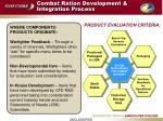 combat ration development integration process