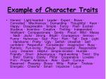 example of character traits