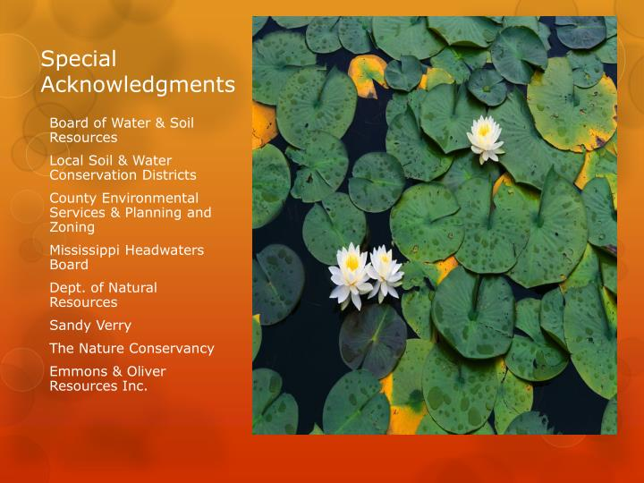 Special acknowledgments