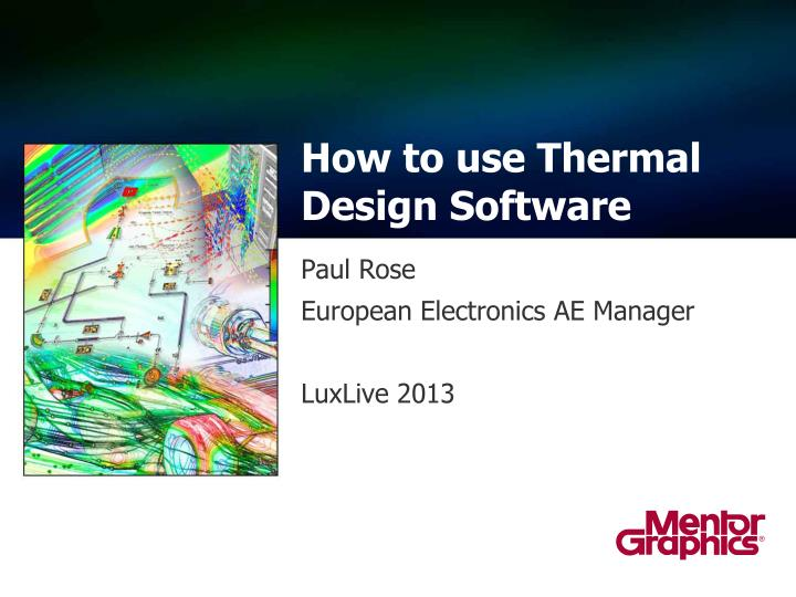 how to use thermal design software n.