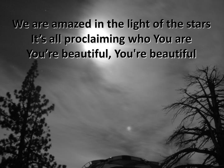 We are amazed in the light of the stars