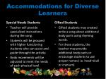 accommodations for diverse learners