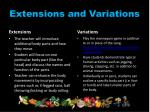extensions and variations