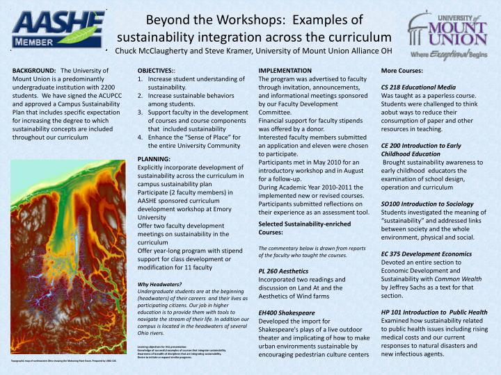 Beyond the Workshops:  Examples of sustainability integration across the curriculum
