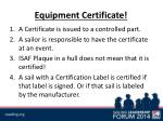 equipment certificate